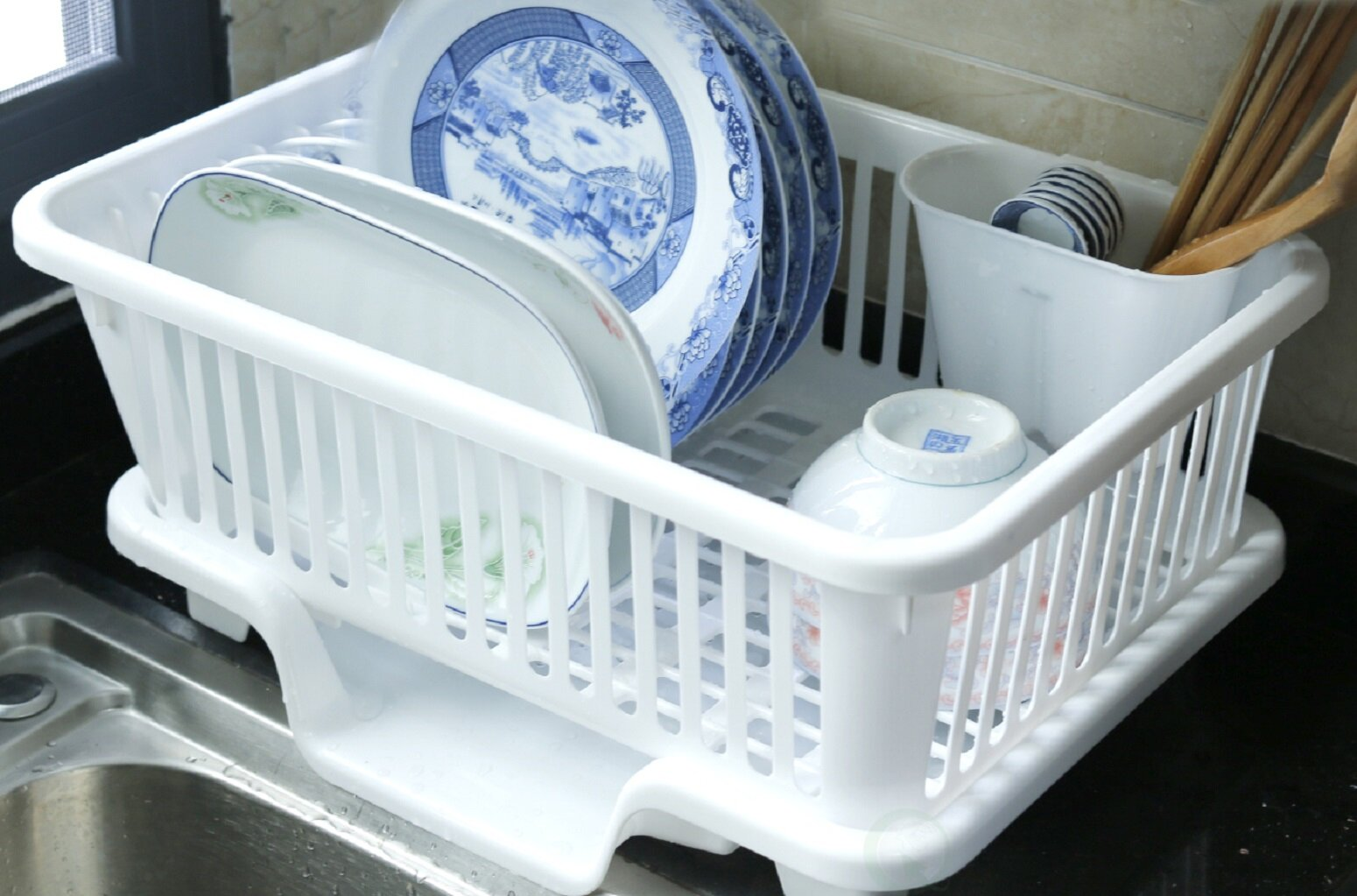 Basicwise Plastic Dish Rack with Drain Board and Utensil Cup | Wayfair