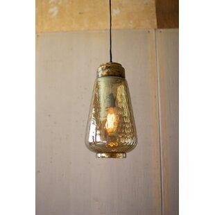 Worth Glass 1-Light Jar Pendant by Bungalow Rose