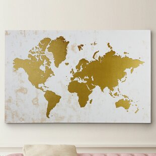 World map wall art champaign gold map graphic art on wrapped canvas gumiabroncs Gallery
