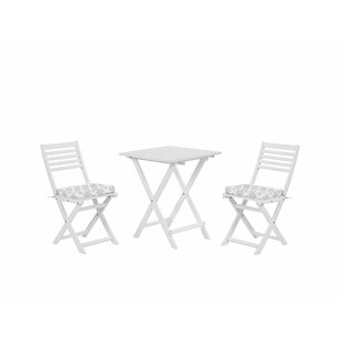 Garden Bistro Set With Mint Green Cushions White Ahil By 17 Stories