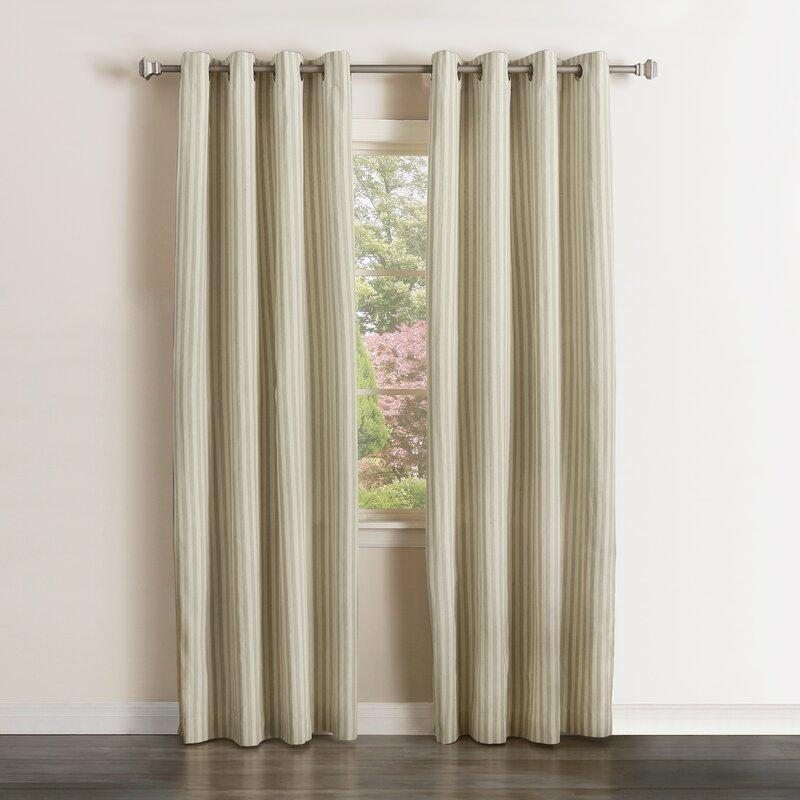 Vertical Striped Semi-sheer Grommet Curtain Panels