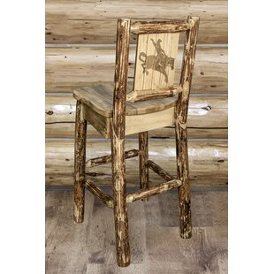 Tustin Laser Engraved Bronc Design 30 Bar Stool by Loon Peak Discount