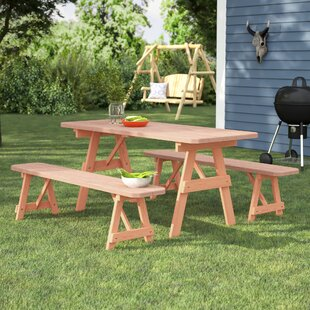 Loon Peak Vestal Pine Picnic Table with 2 Benches