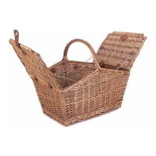 Sloped Sided Double Lidded Empty Large Wicker Picnic Basket By Brambly Cottage