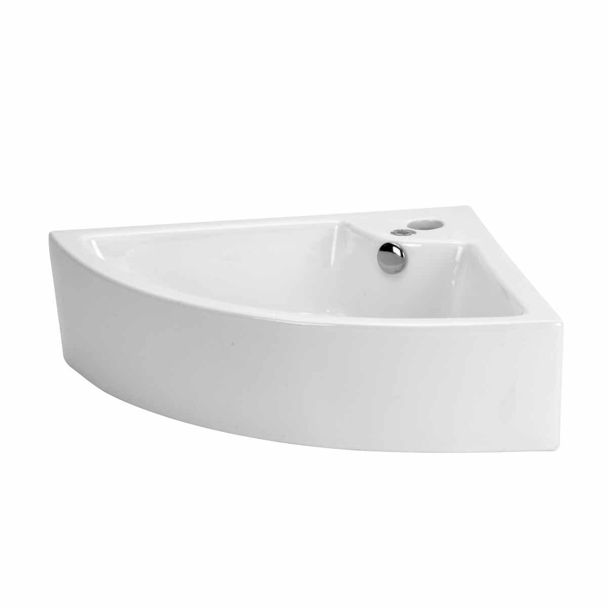 Corner Porcelain Specialty Vessel Bathroom Sink with Overflow