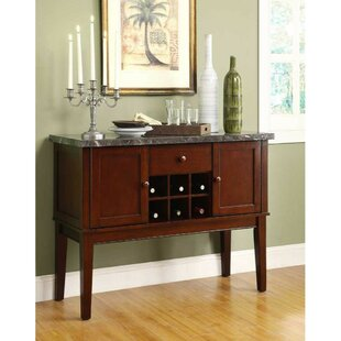 Winston Porter Lakeport Wooden Marble Top Server