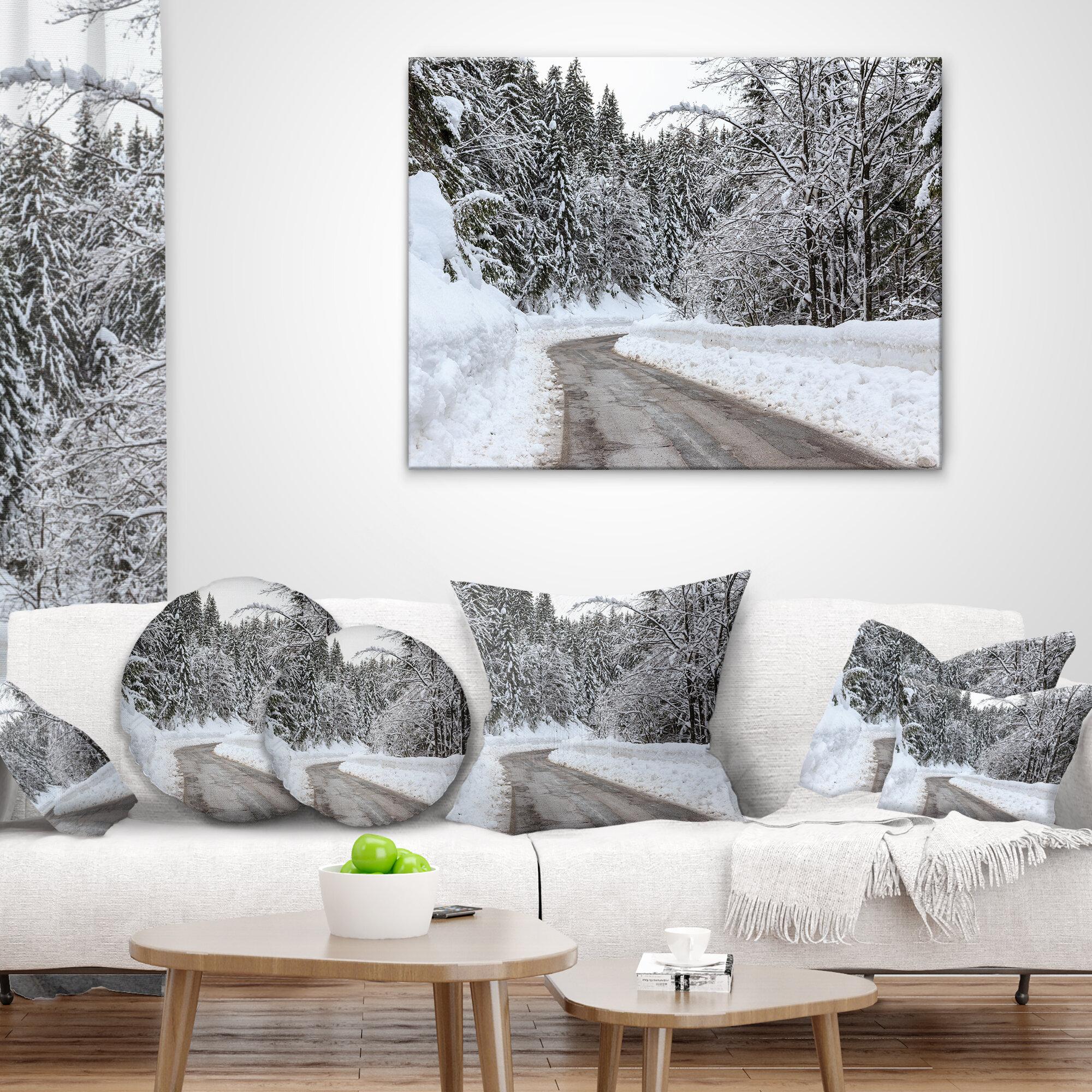 East Urban Home Foggy Winter Road In Slovenia Pillow Wayfair