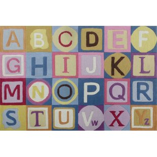 Affordable Price Hayslett ABCs Hand-Tufted Pink/Blue Area Rug By Zoomie Kids