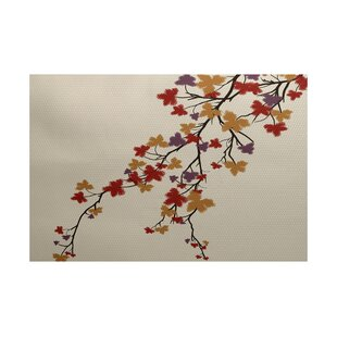 Macaro Maple Hues Flower Print Purple Indoor/Outdoor Area Rug