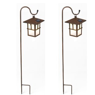 Winsome House Pagoda Hanging Solar 1-Light Pathway Light (Set of 2)