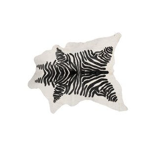 Order ABC Zebra Hand-Knotted Cowhide White/Brown Area Rug By Loon Peak
