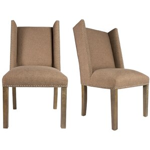 Rexford Winged Nailhead Upholstered Parsons Chair (Set of 2) by Sole Designs