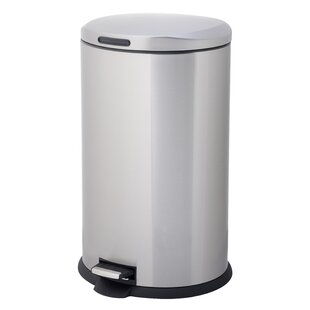HomeZone Stainless Steel 10.57 Gallon Step On Trash Can