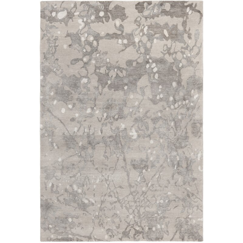 17 Stories Buchner Abstract Hand Knotted Smoke Area Rug Wayfair