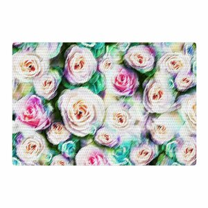 Dawid Roc Abstract Floral Bright Rose/Green Area Rug