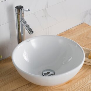 Compare Ceramic Circular Vessel Bathroom Sink with Faucet By Kraus