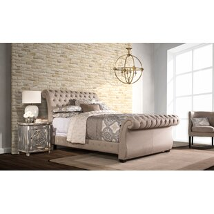 Cyrano Upholstered Wood Frame Sleigh Bed by Willa Arlo Interiors