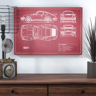 '1977 Porsche 911 Turbo (930)' Graphic Art Print on Canvas in Maroon ByTrent Austin Design
