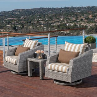 Greenfield Deluxe 3 Piece Sunbrella Conversation Set with Cushions by Wade Logan