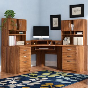 Leavy Corner Executive Desk with Hutch by Millwood Pines
