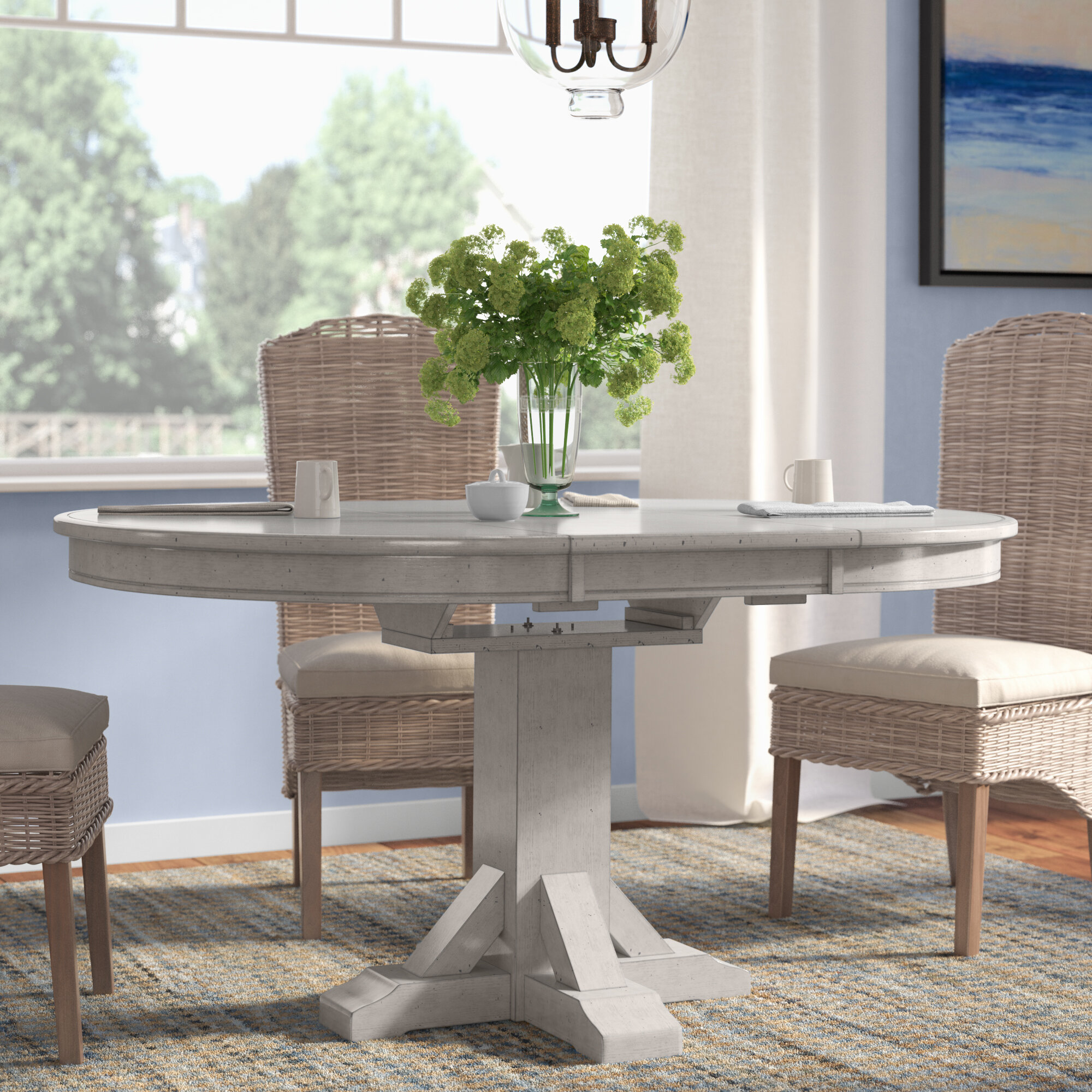 Rosecliff Heights Rutledge Extendable Rubberwood Solid Wood Dining Table Reviews Wayfair