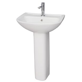 Compare prices Lara Vitreous China 20 Pedestal Bathroom Sink with Overflow By Barclay