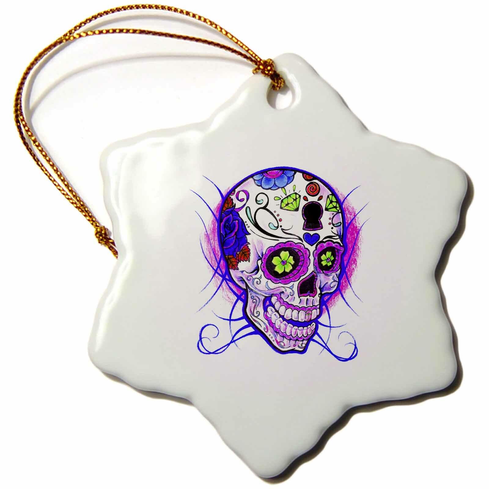 The Holiday Aisle Diamond Sugar Skull Snowflake Holiday Shaped Ornament Wayfair