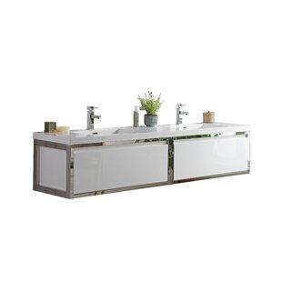 Reviews McCook 84 Wall-Mounted Double Bathroom Vanity Set (Set of 3) ByOrren Ellis
