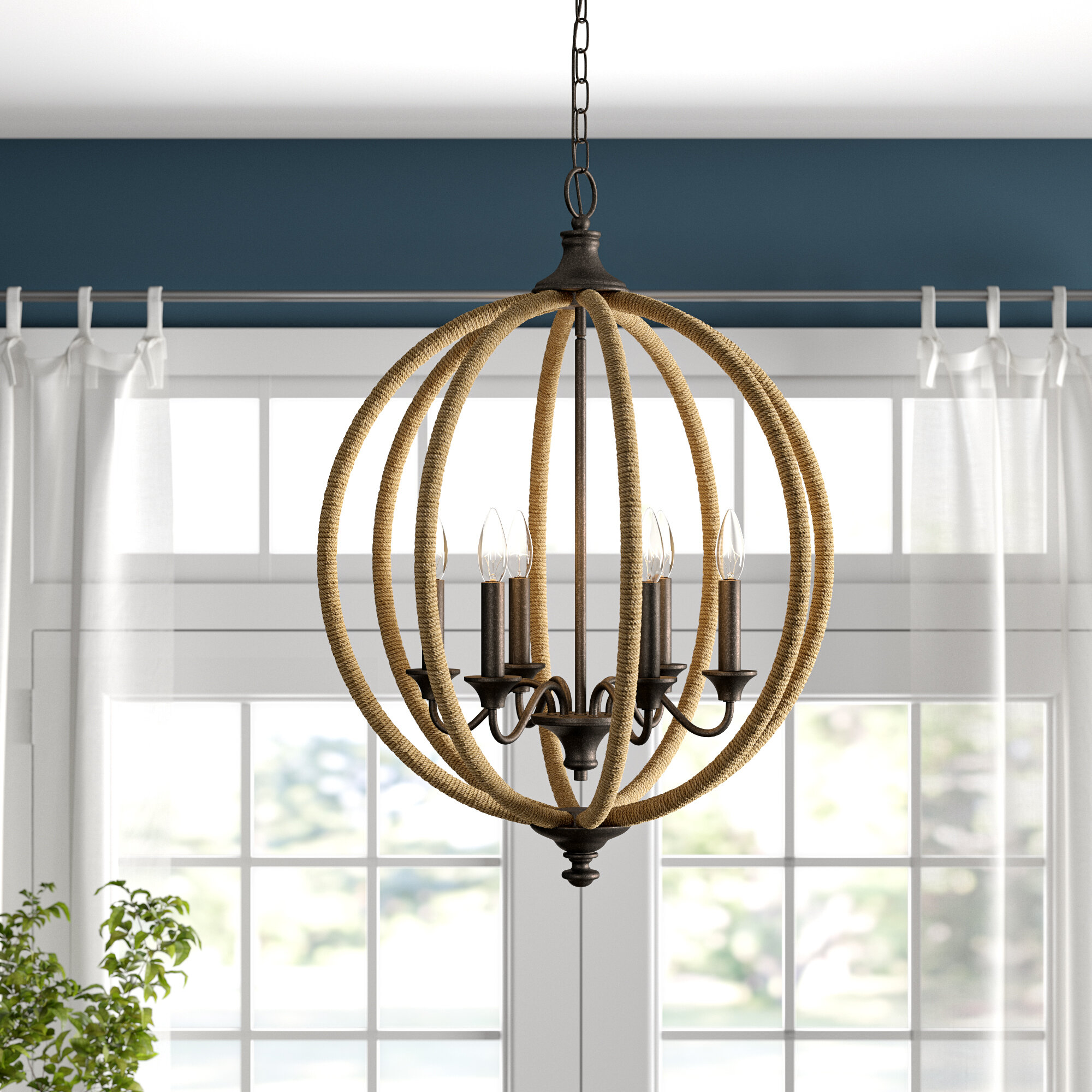Amherst 6 Light Candle Style Globe Chandelier With Rope Accents Reviews Birch Lane