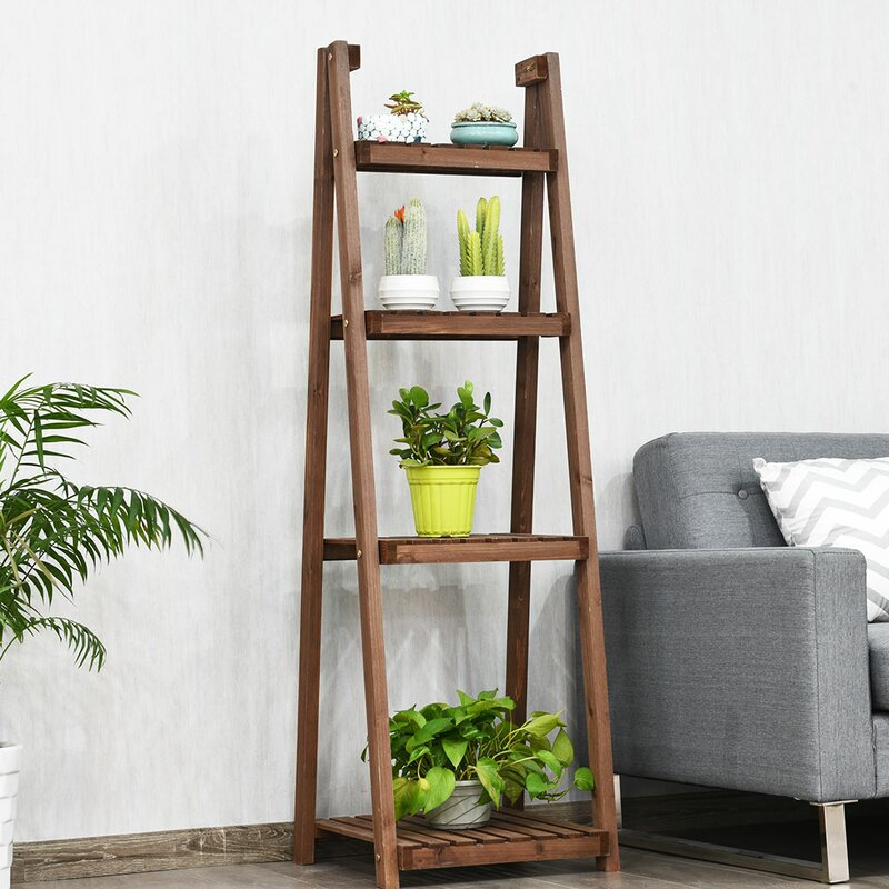 Costway 4 Tier Folding Wood Plant Stand