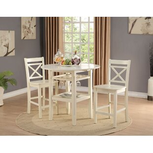 Gennessee 3 Piece Counter Height Drop Leaf Dining Set