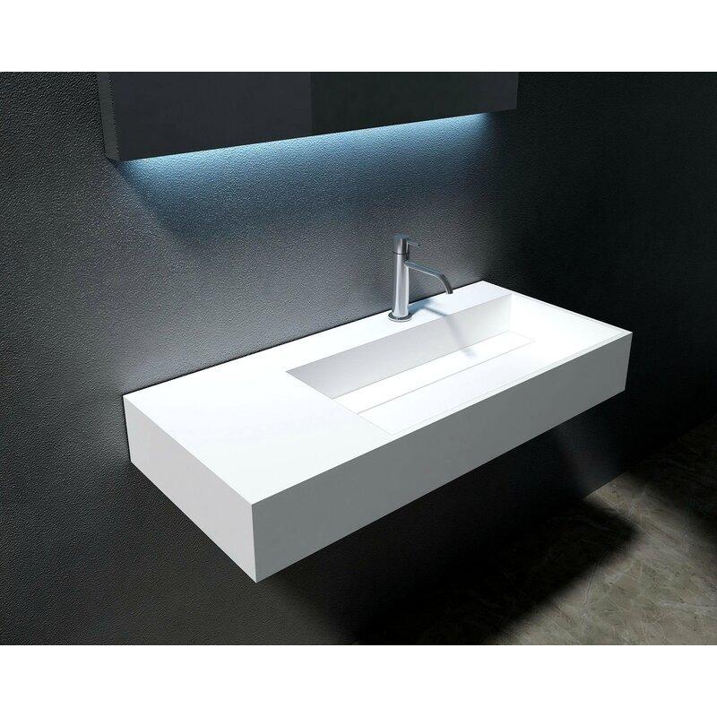 "orren ellis boyter stone 35"" rectangular wall mount bathroom sink & reviews | wayfair"