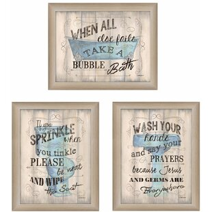 Superbe U0027Bathroom Humoru0027 3 Piece Framed Textual Art Set