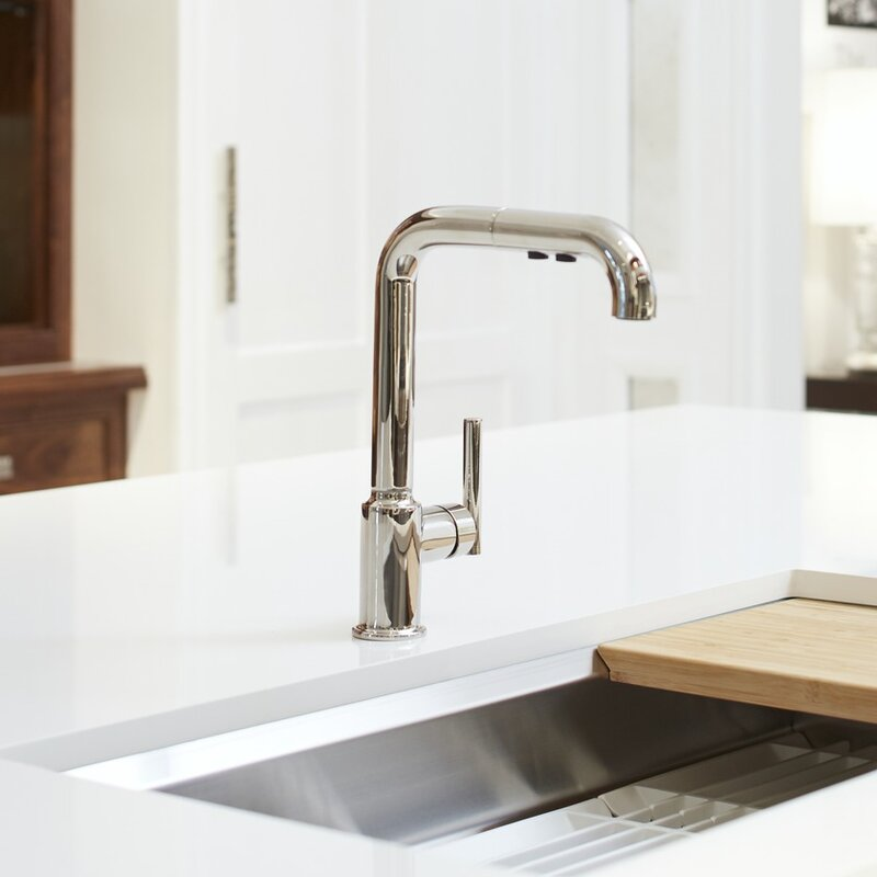 K 7505 Bl Cp Vs Kohler Purist Single Hole Kitchen Sink Faucet With 8 Pullout Spout With Promotion Reviews Wayfair