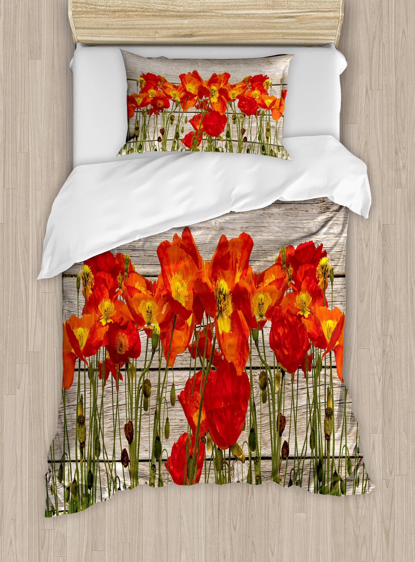 Poppy Floral Summer Duvet Quilt Cover Bedding Bed Linens Set