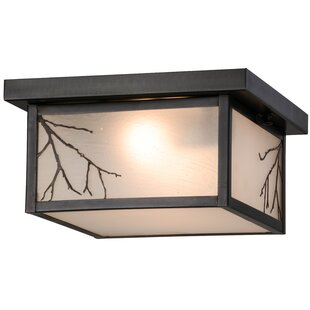 Meyda Tiffany Greenbriar Oak Hyde Park Branches 2-Light Flush Mount