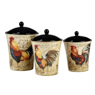Gilded Rooster 3 Piece Kitchen Canister Set