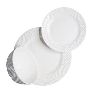 Solid Swiss Dots 12 Piece Melamine Dinnerware Set, Service for 4