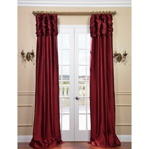 Moncaeu Solid Rouched Thai Silk Thermal Tod Pocket Single Curtain Panel