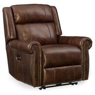 Esme Leather Power Recliner with Headrest Hooker Furniture