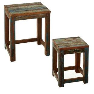 Bloomsbury Market Monier Reclaimed Wood 2 Piece Nesting Tables