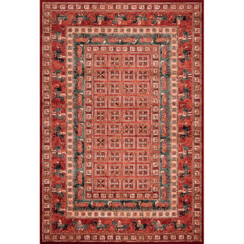 Home Loft Concept Red Tan Area Rug Wayfair Co Uk