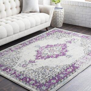 chamberlain bright purplecream area rug