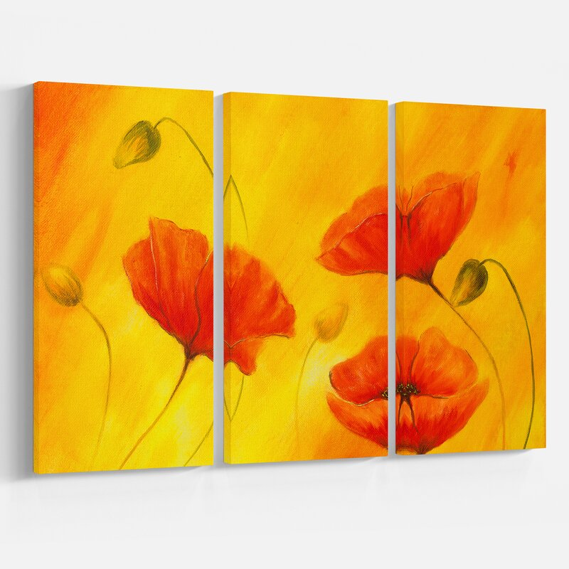 East urban home red poppy flower oil painting print multi piece red poppy flower oil painting print multi piece image on wrapped canvas mightylinksfo