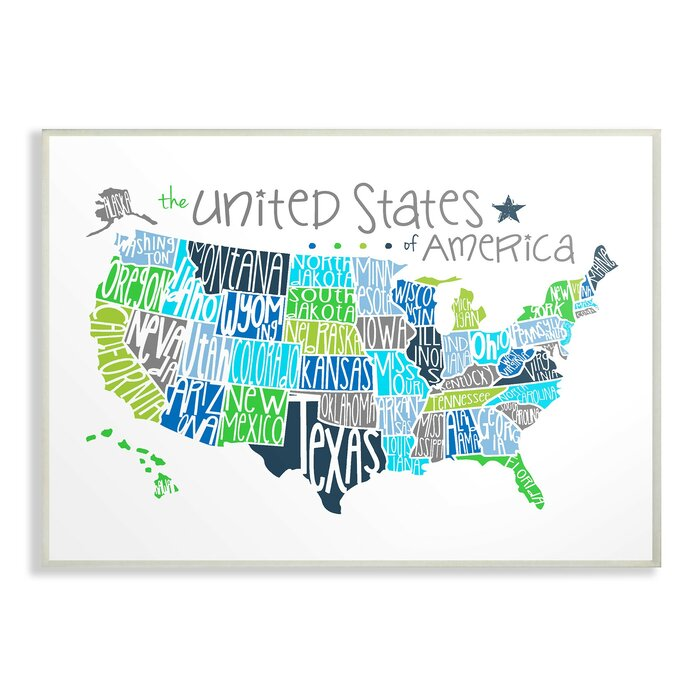 Fenske United States Map Colored Typography Decorative Plaque