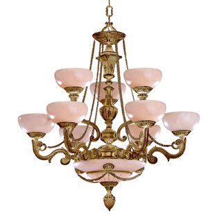 Crystorama Bravado Alabaster 12-Light Shaded Chandelier