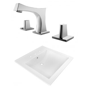 American Imaginations Ceramic Rectangular Drop-In Bathroom Sink with Faucet and Overflow