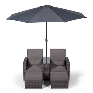 Duenweg 2 Seater Conversation Set With Cushions And Parasol By Mercury Row