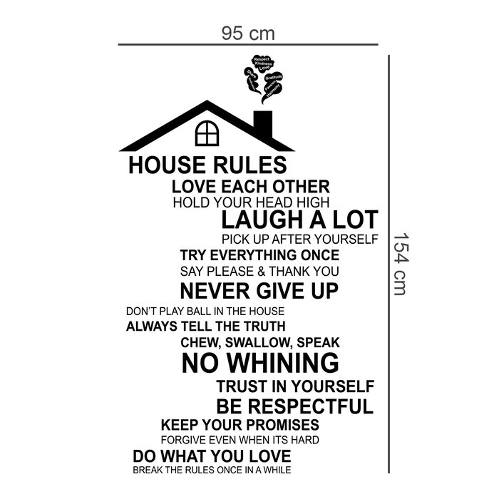 Rooftop House Rules And Crystal Vinyl Wall Decal Home Decor Gifts Merchandise Gifts Merchandise Gifts Merchandise Decals Stickers