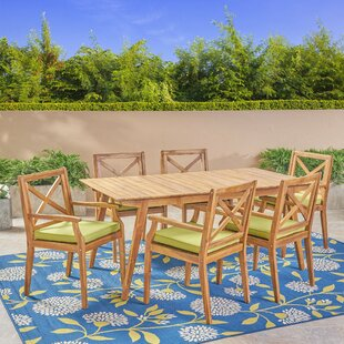 Highland Dunes West Adams 7 Piece Teak Dining Set with Cushions